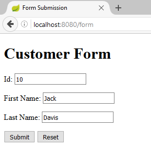 spring form submission to postgresql-form customer