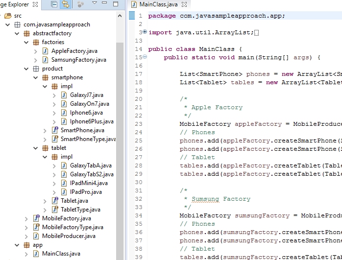 java design pattern abstract factory project structure