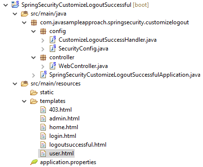 spring security - customize logout successful handler - project structure