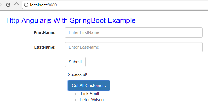 http angularjs spring boot result