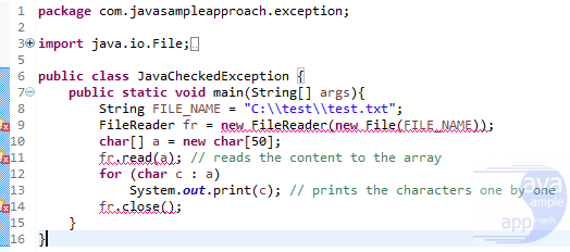 Java Exception - Checked Exception Eclipse