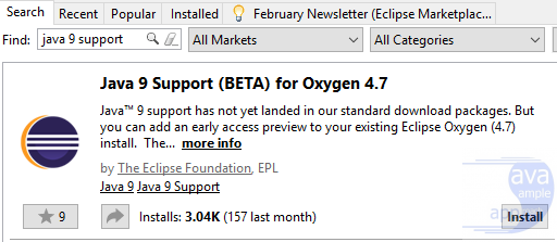 install-Java 9 Support (BETA) for Oxygen