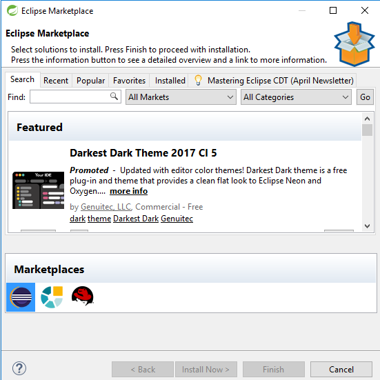 Eclipse marketplace winzard