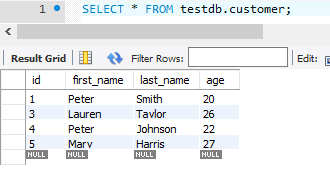 Hibernate Query Language - HQL - after processing customer table