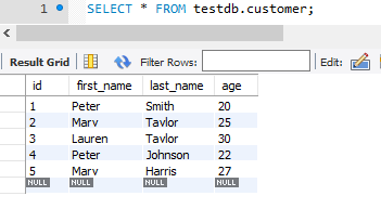 Hibernate Query Language - HQL - init customer table