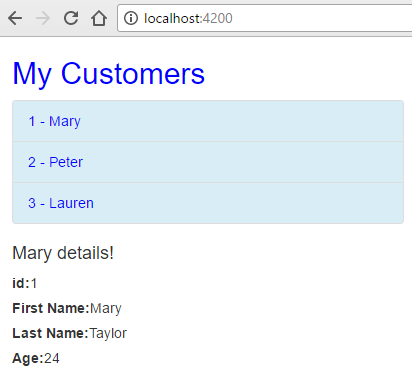 angular http client - customer details