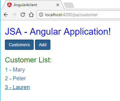 angular http client post put deletet - customer list