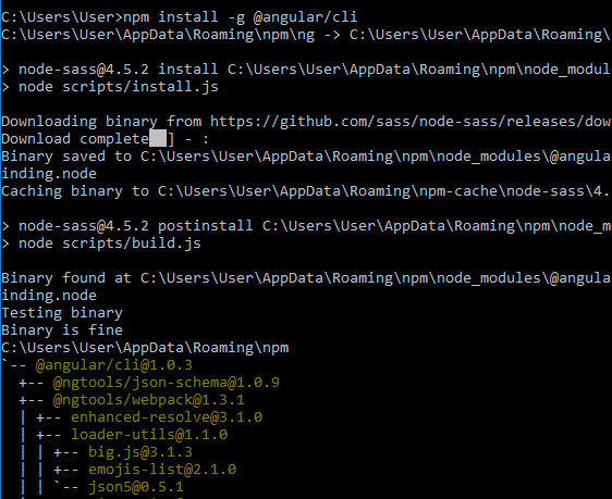 angular4 - springboot springtoolsuite - install Angular-CLI