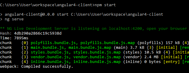 angular4 - springboot springtoolsuite - start Angular4-client