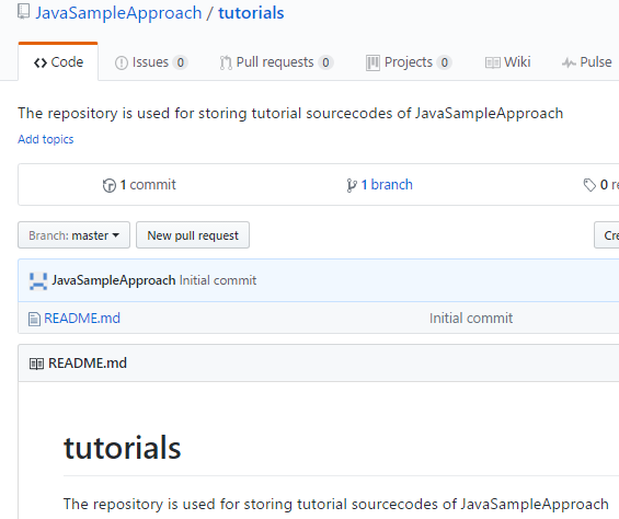github - tutorials repository is created successfully