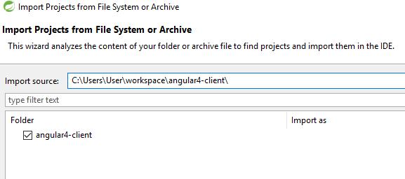 import angular4 client to springtoolsuite