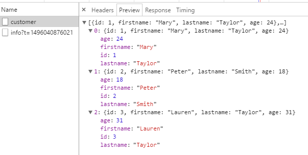 response data - customer list