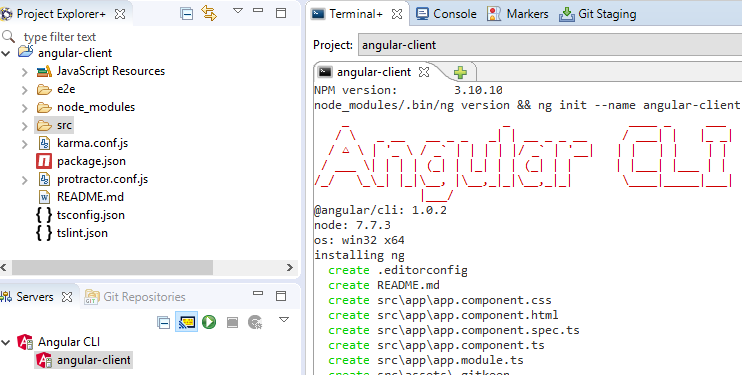 springtoolsuite angular2 create successfully