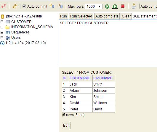 h2 database - customer after restart