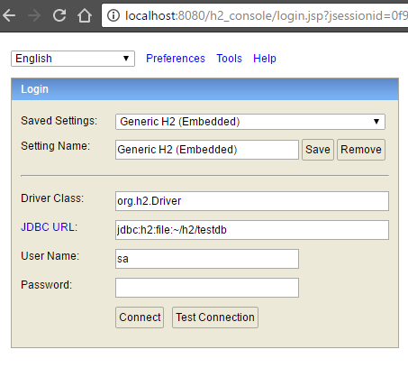 h2 database console security - h2 login page
