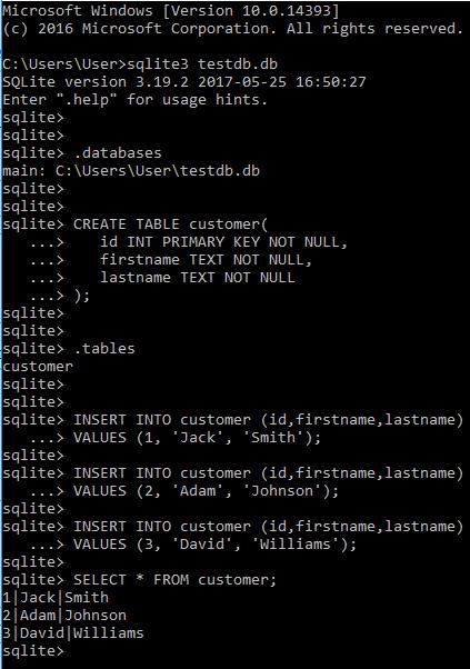 sqlite command results