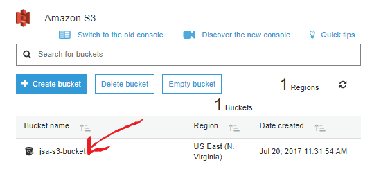 springboot amazon s3 starter - input info for create bucket - result