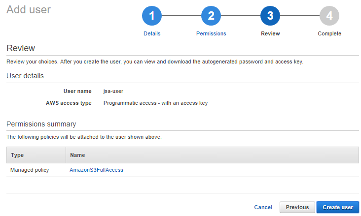 amazon s3 starter - review policies