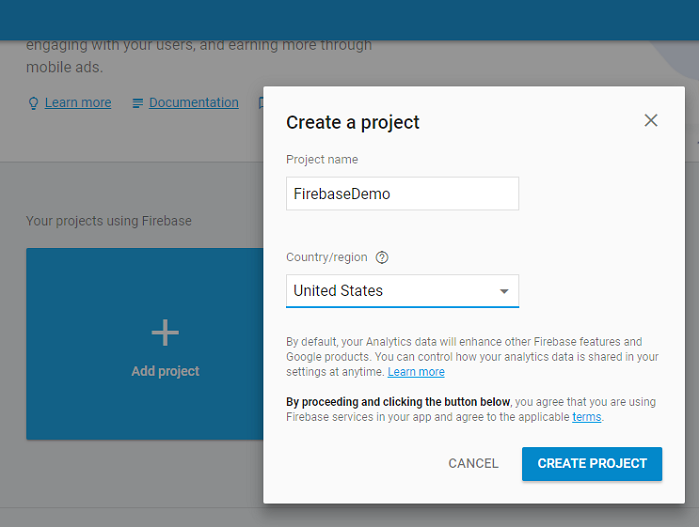 firebase-create-project