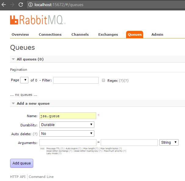 rabbitmq - create a queue
