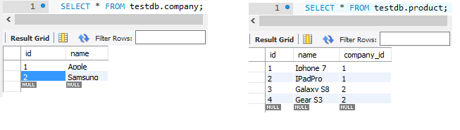 spring data rest - jpa one-to-many entities - company-product tables