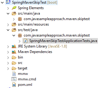 SpringBoot Maven Skip Test - project structure