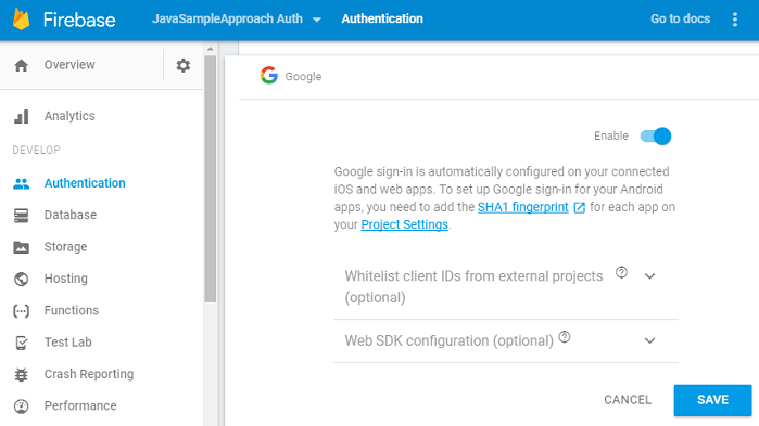 firebase-google-signin-enable-console