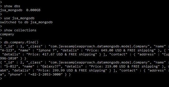 mongodb embedded document - mongodb shell results