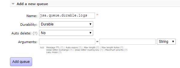 springboot rabbitmq durable queue - create durable queue