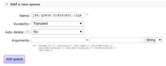 springboot rabbitmq durable queue - create transient queue