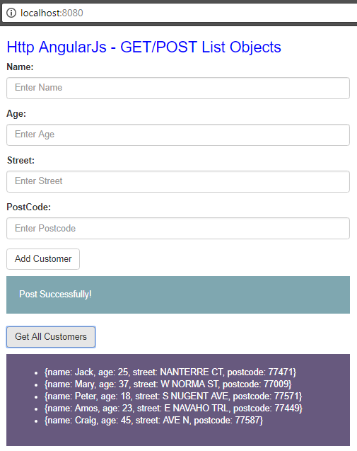 Angularjs Send List Object via SpringBoot RestAPI - get results