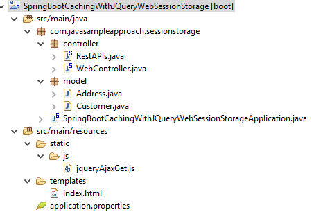 HTML 5 - Web SessionStorage - Using JQuery to Cache data from SpringBoot RestAPIs - project structure