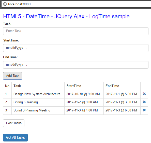 Html5 DateTime - JqueryAjax - SpringBoot RestAPIs - add tasks