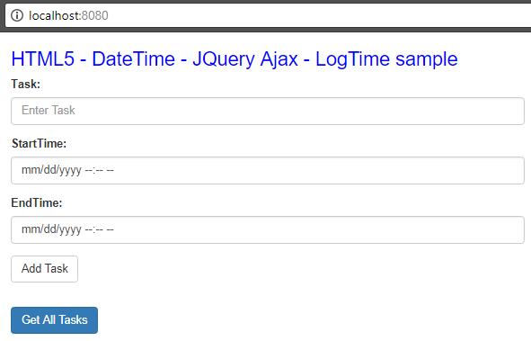 Html5 DateTime - JqueryAjax - SpringBoot RestAPIs - adding task form