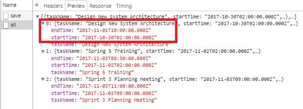 Html5 DateTime - JqueryAjax - SpringBoot RestAPIs - get tasks logs