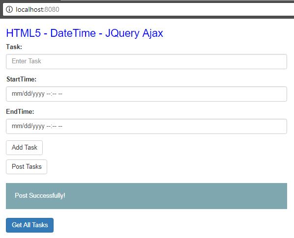 Html5 DateTime - JqueryAjax - SpringBoot RestAPIs - post task view