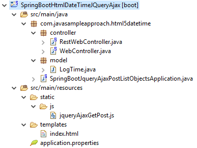 Html5 DateTime - JqueryAjax - SpringBoot RestAPIs - project structure