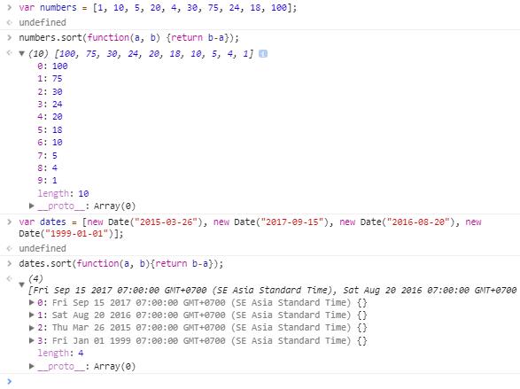 javascript array sort method - compare method descending array