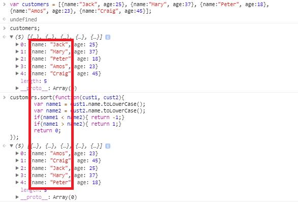 javascript array sort method - compare method object array - 2