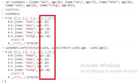 javascript array sort method - compare method object array