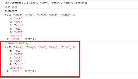 javascript array sort method - first look