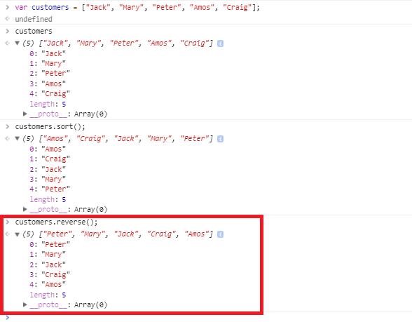 javascript array sort method - reverse