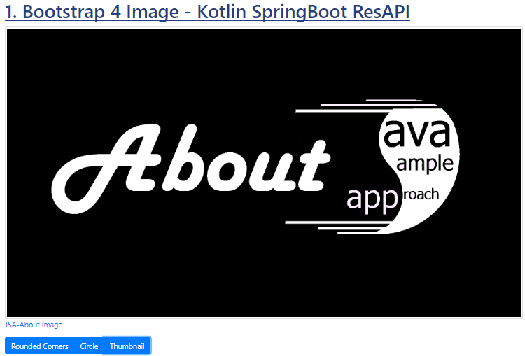 Kotlin SpringBoot - Bootstrap 4 Image - Jquery - thumnail shape