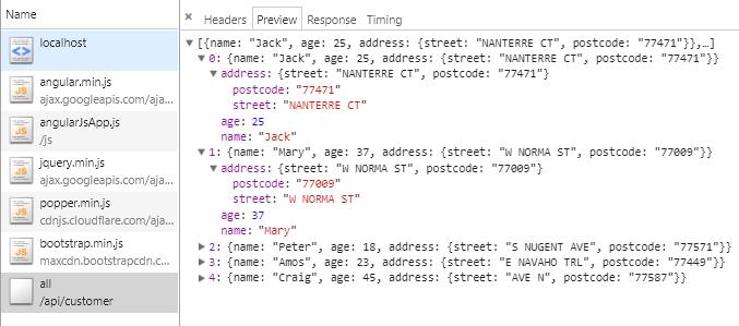 Kotlin SpringBoot RestAPI + AngularJS + Bootstrap 4 Table - logs request preview