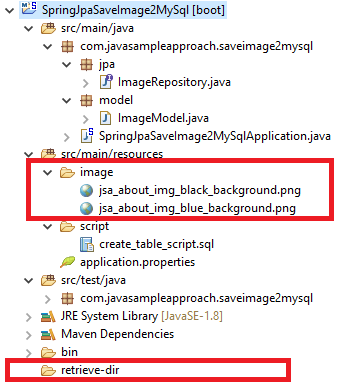 Spring JPA saves Files-Images to MySQL server - project structure