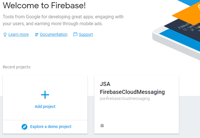 kotlin-firebase-cloud-messaging-setup-tool-console