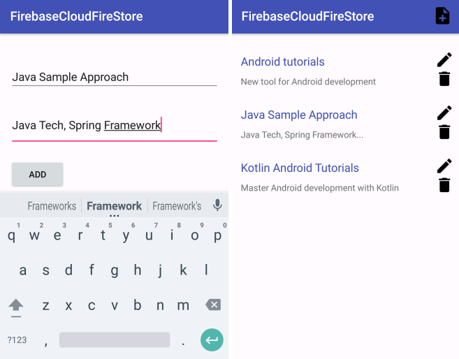 Cloud Firestore Android example - CRUD Operations with RecyclerView