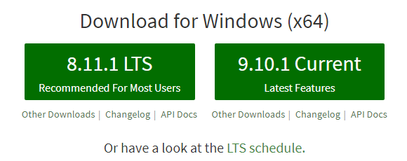 download nodejs - LTS version