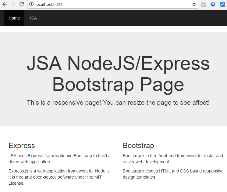 nodejs-express bootstrap - home page