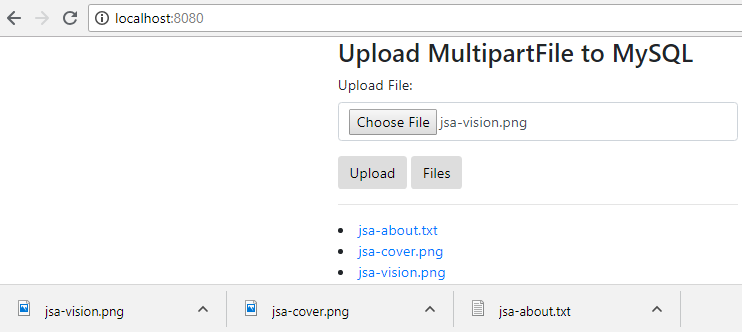 SpringJPA-Upload-Download-MultipartFile-to-PostgreSQL-dowload-files